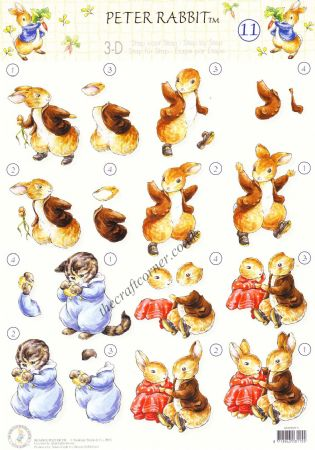 Beatrix Potter's Peter Rabbit 11 Tom Kitten & Peter Rabbit 3D Decoupage Sheet.